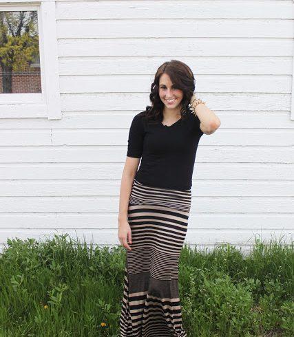 {striped maxi skirt}