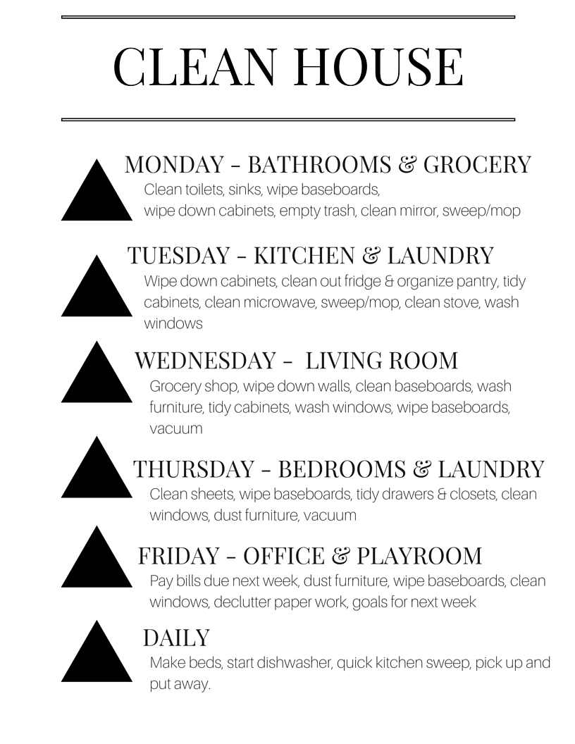 How To Keep A Clean House weekly keep it clean list. - dani marie blog