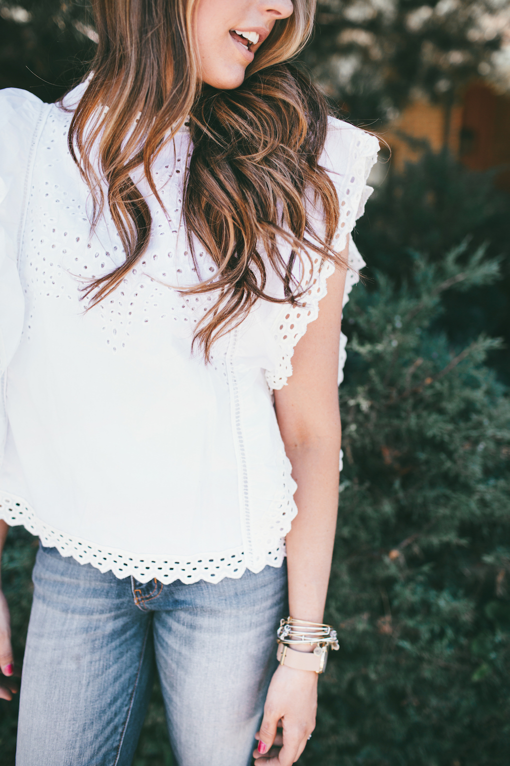 White short sleeved eyelet top with lace trim