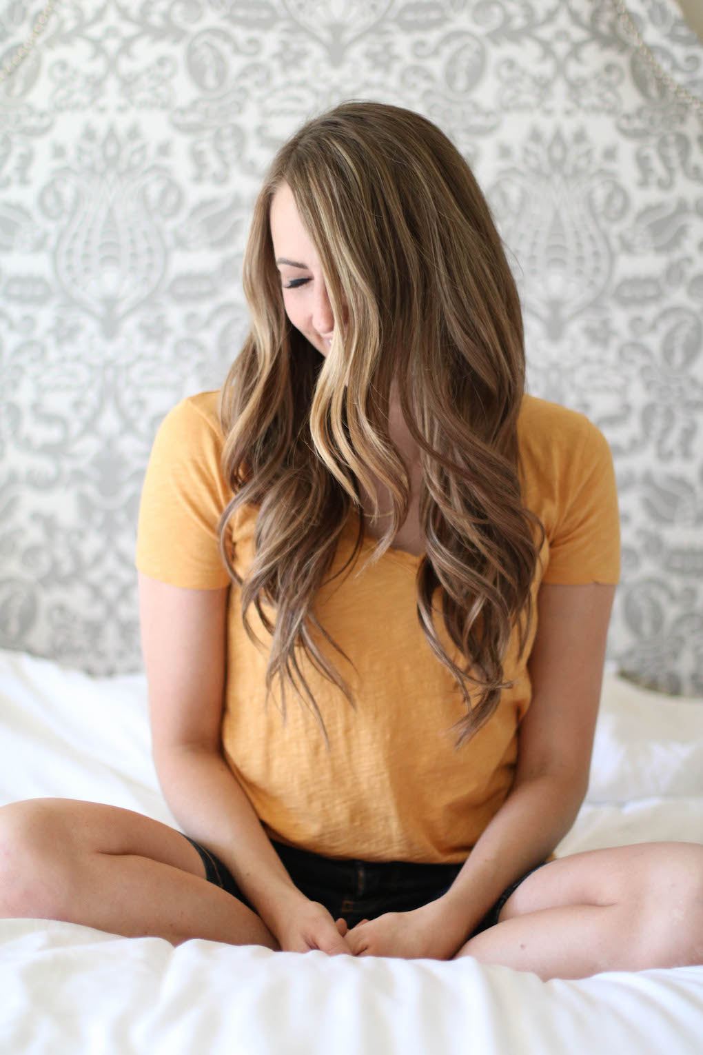 long caramel brown hair with loose curls