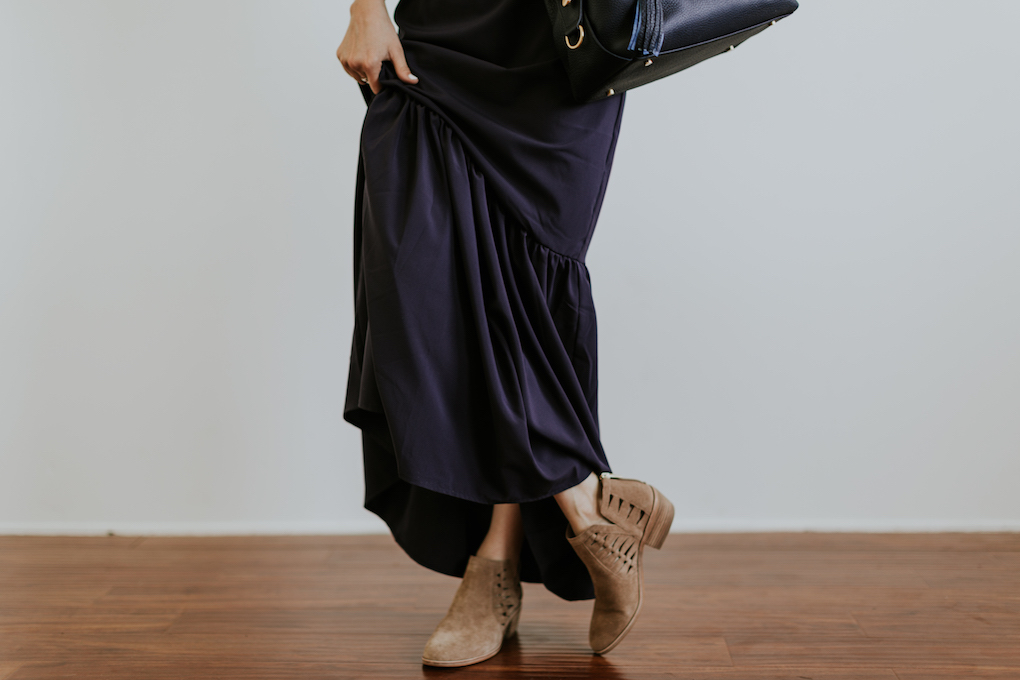 navy blue ruffle maxi dress with brown cut out booties