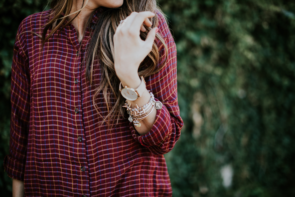 red flannel paired with alex and ani bracelets and arvo watch