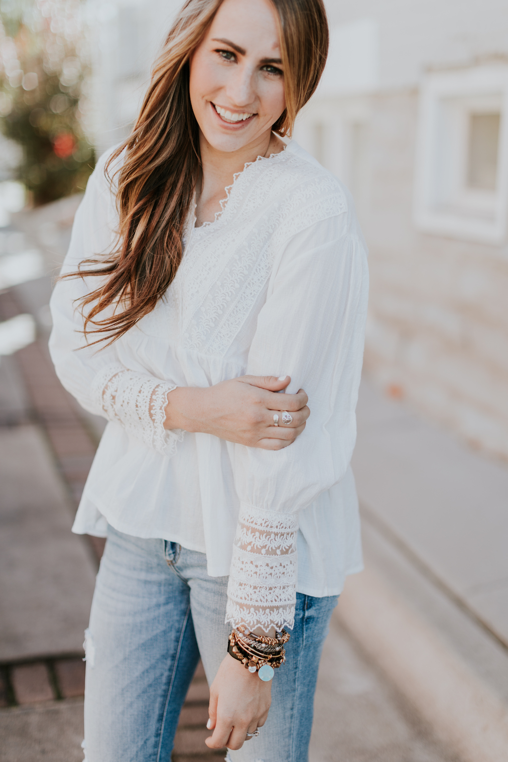 white long sleeve lace detail top