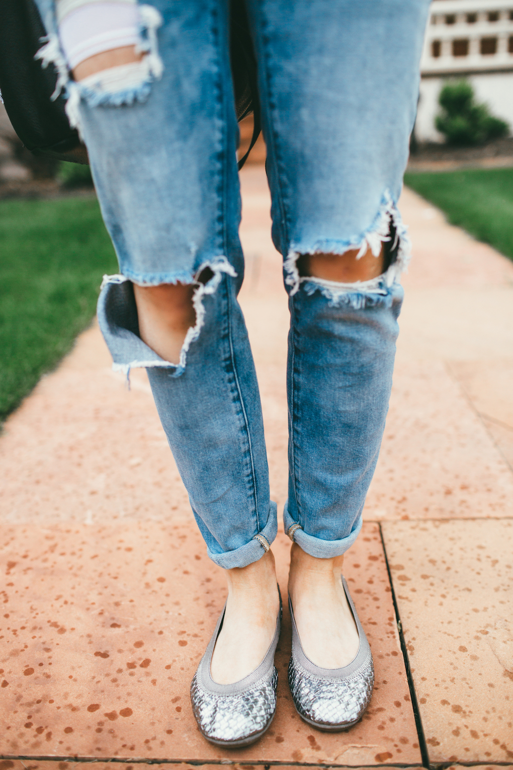 distressed blank nyc denim with silver yosi samra flats