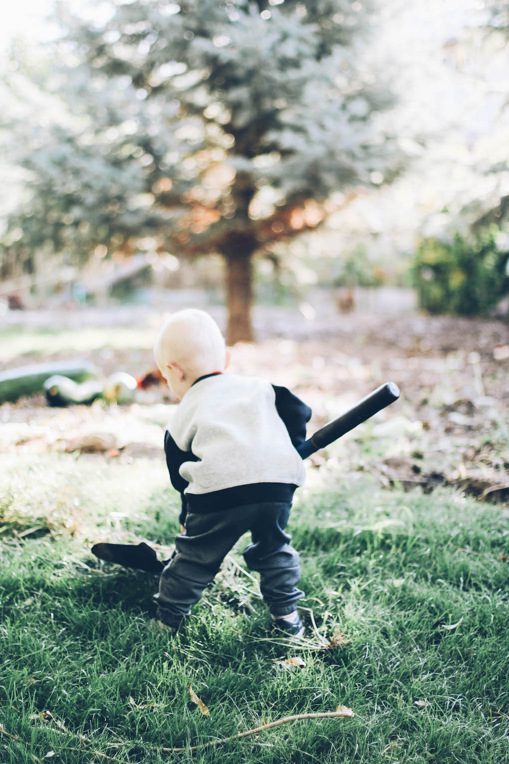 little boy working in the yard with a shovel and playing in the grass