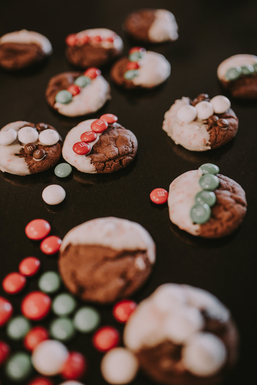 m&m white peppermint chocolate cookies