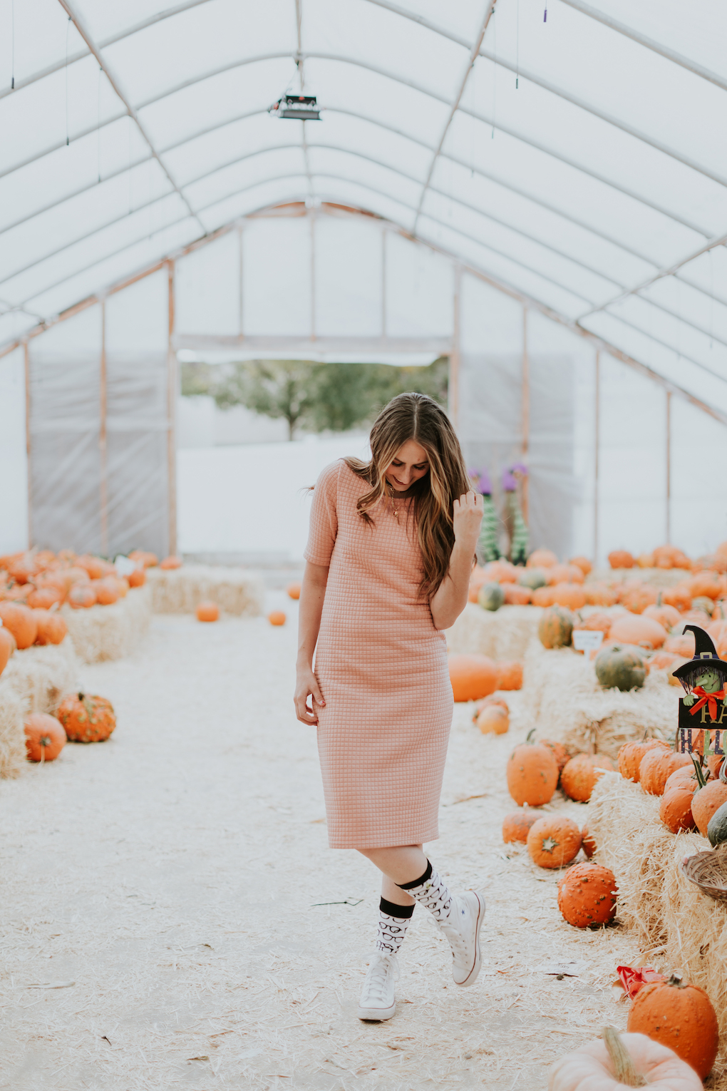 girl in quilted pink dress with tall glasses socks and converse on standing at pumpkin patch with loosely curled brown hair
