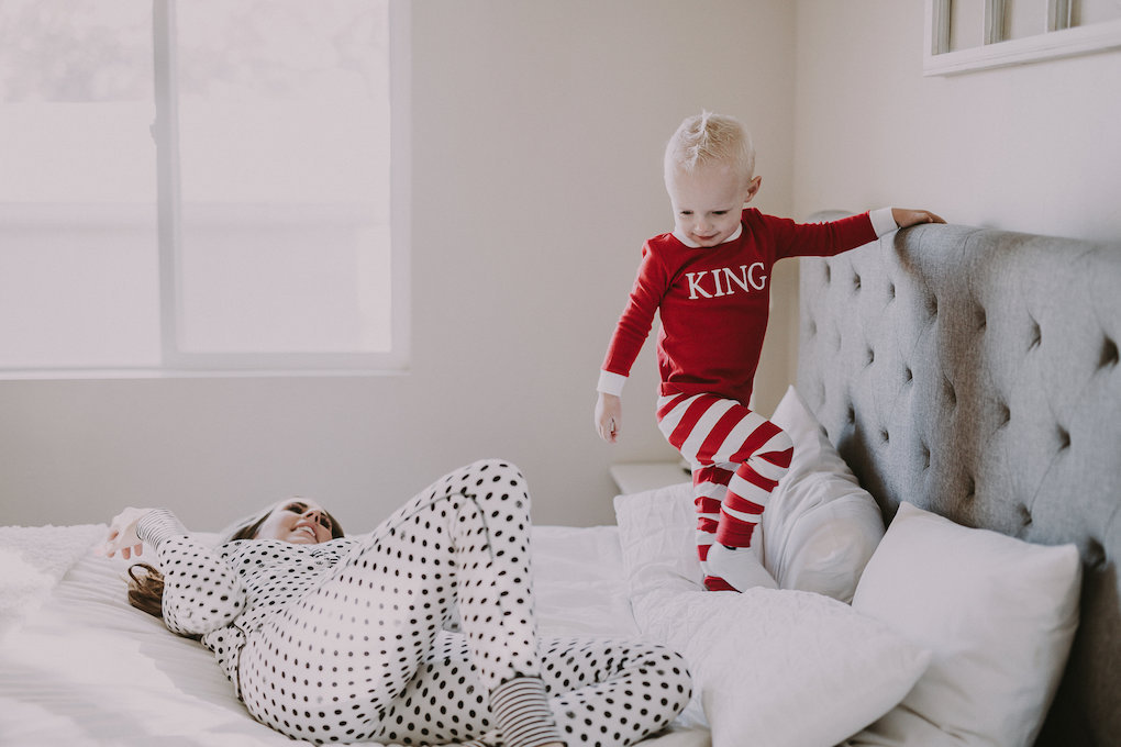 Christmas pajamas for mom and littles personalized with name red or green stripes