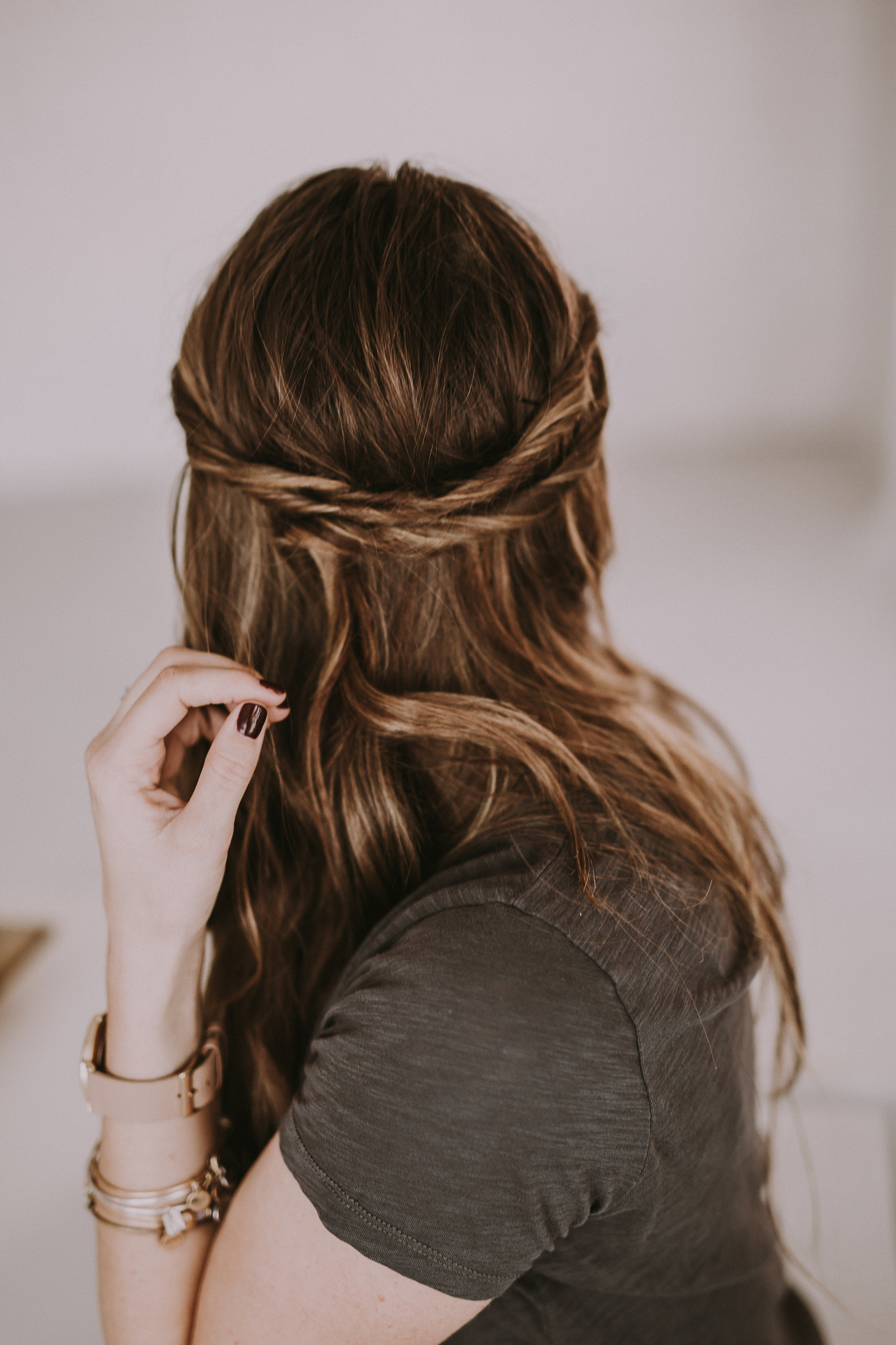 simple and quick triple twist half up do hairstyle tutorial