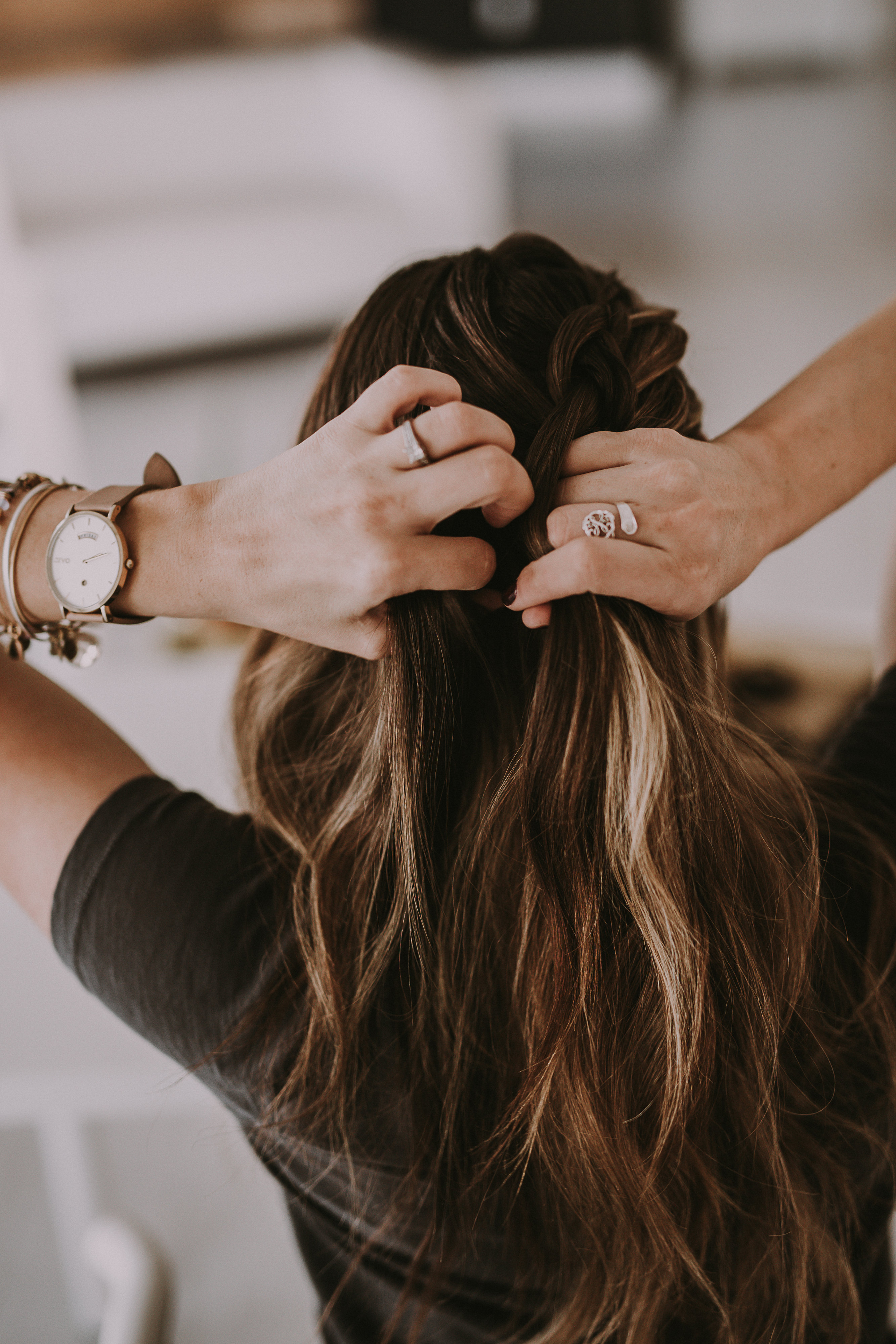 FRENCH BRAID BUN HOLIDAY HAIRSTYLE TUTORIAL by Utah beauty blogger Dani Marie