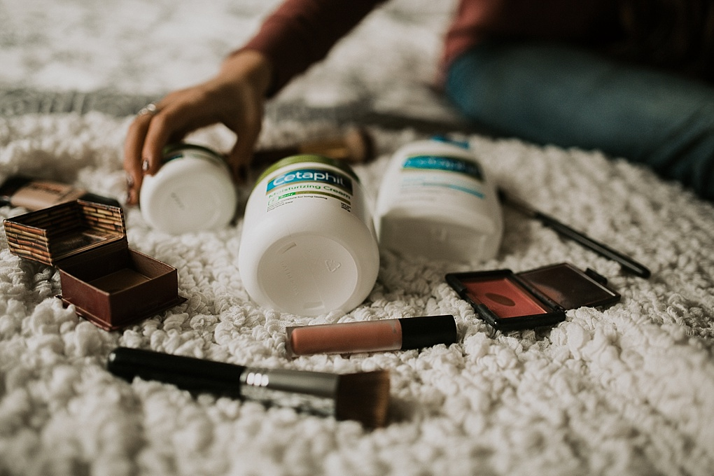 mama must have morning kit with cetaphil cream and makeup products