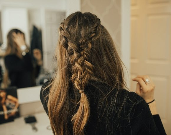 Double French Braid Tie Back Hairstyle Tutorial with Bohyme