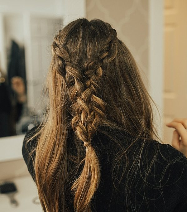 Double French Braid Tie Back hairstyle tutorial