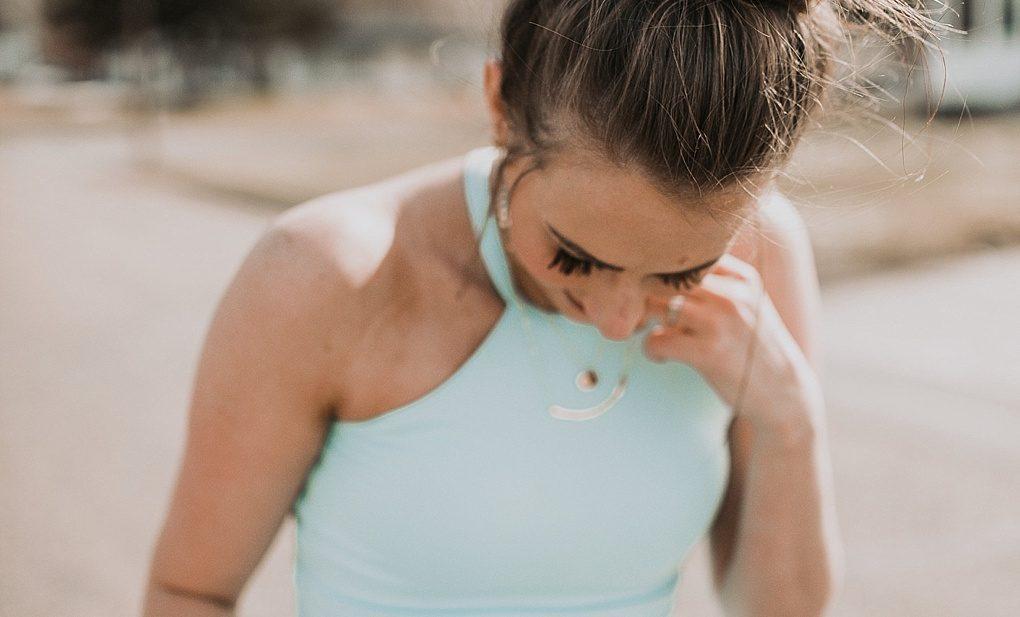 POPFlex Workout clothes light blue tank top with mesh black yoga pant leggings top knot