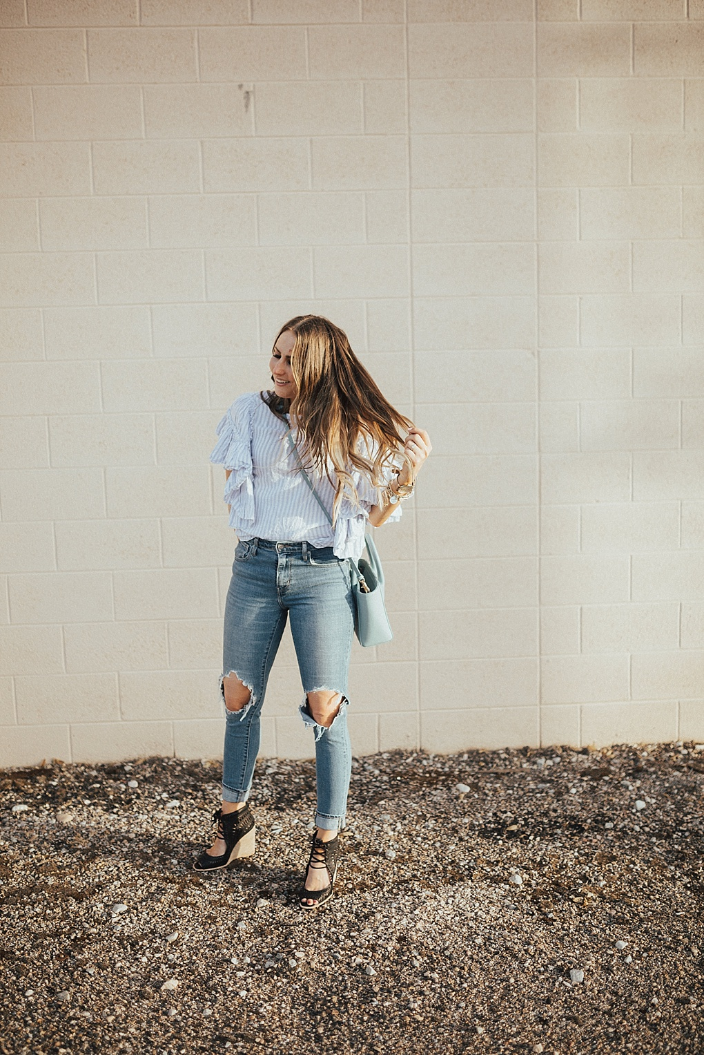 Blue Striped Flutter Sleeve Top by Utah fashion blogger Dani Marie