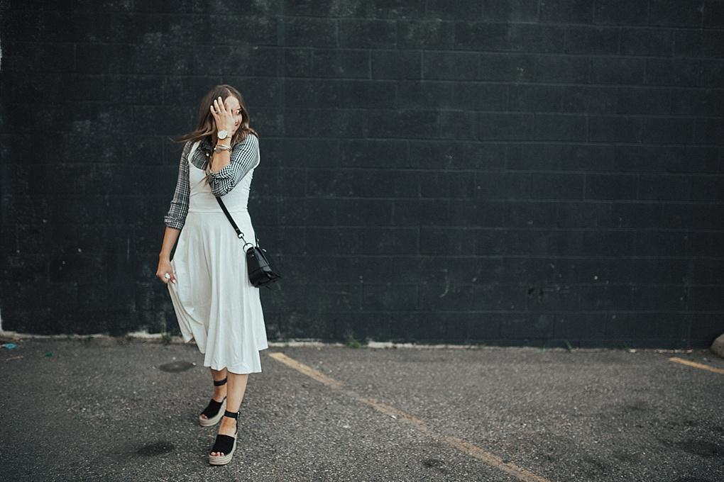 Wearing White In The Fall: White Tank Top Dress by Utah fashion blogger Dani Marie