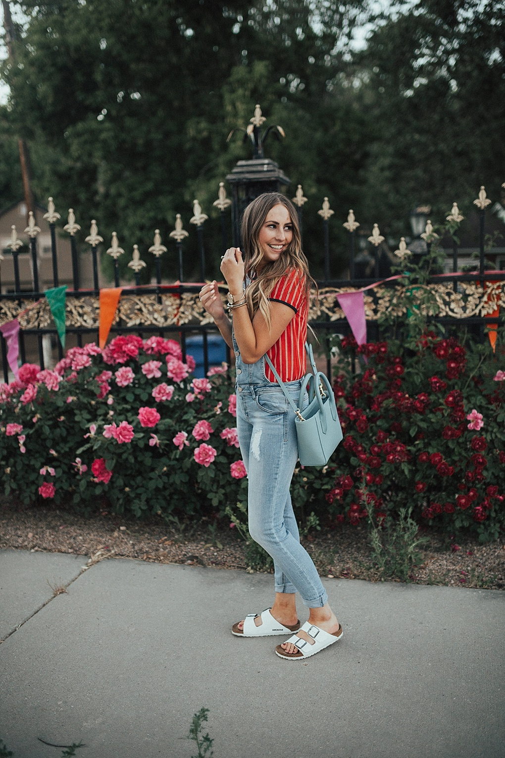 Red Striped Tee + Overalls by Utah fashion blogger Dani Marie