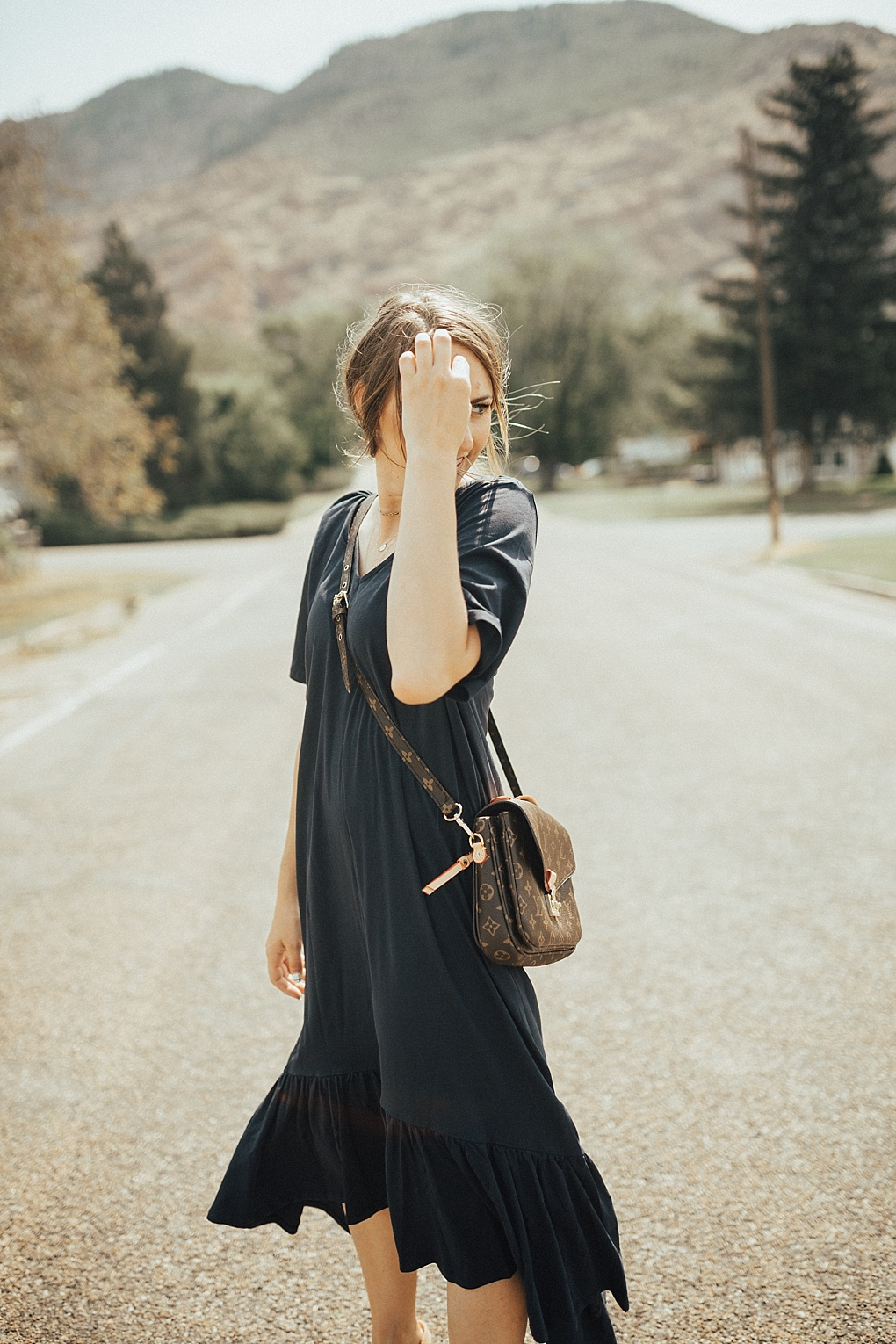 Navy Maxi Dress For Fall by Utah fashion blogger Dani Marie.