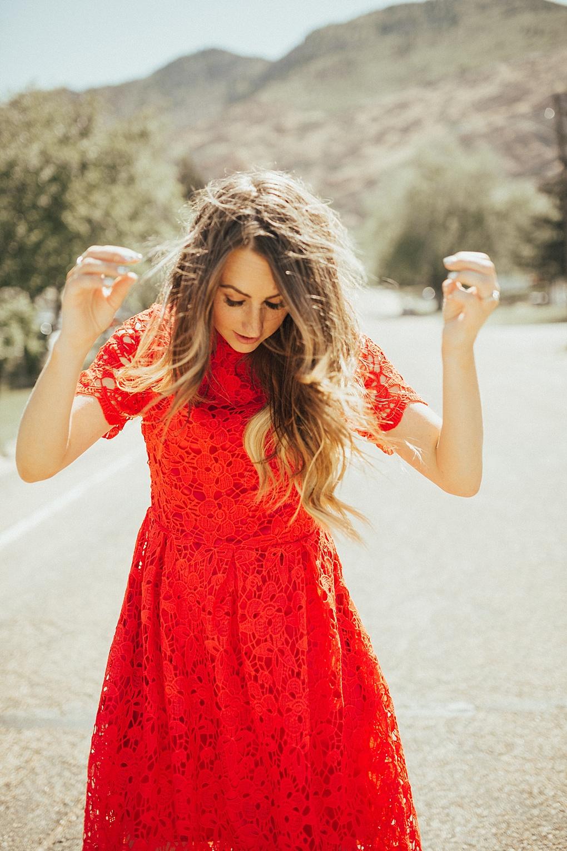 Stylish Red Lace Dress: Dressing Up On Sundays by Utah fashion blogger Dani Marie