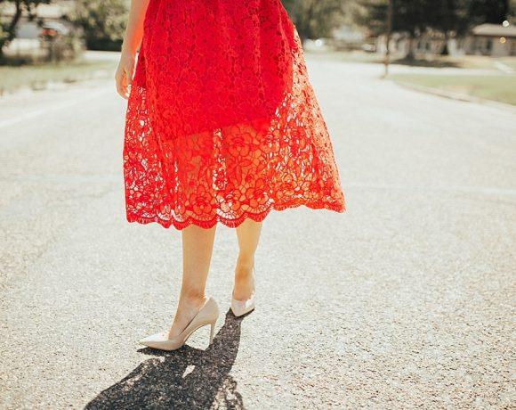 A Red Lace Dress to Dress Up On Sundays