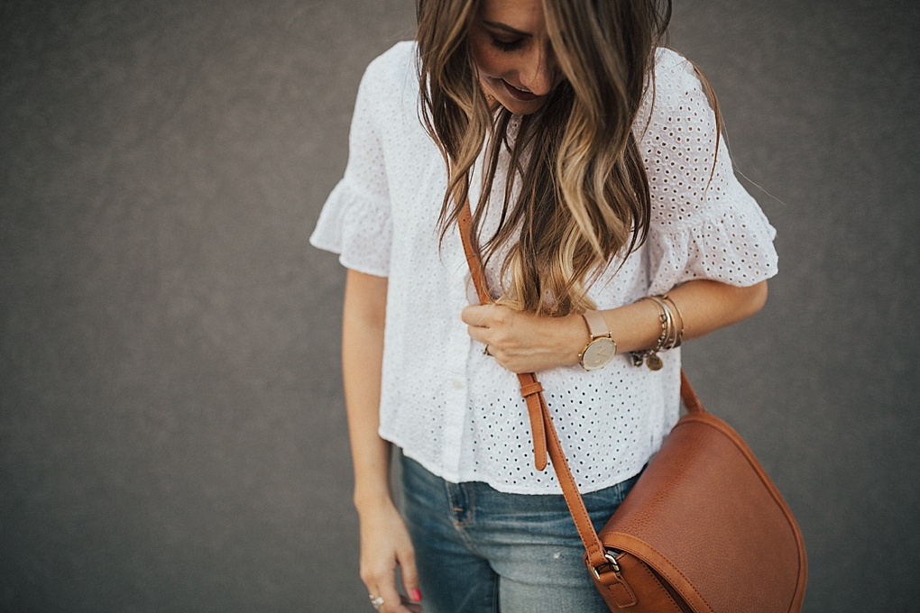 A Cute Eyelet Top To Dress Your Jeans Up by Utah fashion blogger Dani Marie