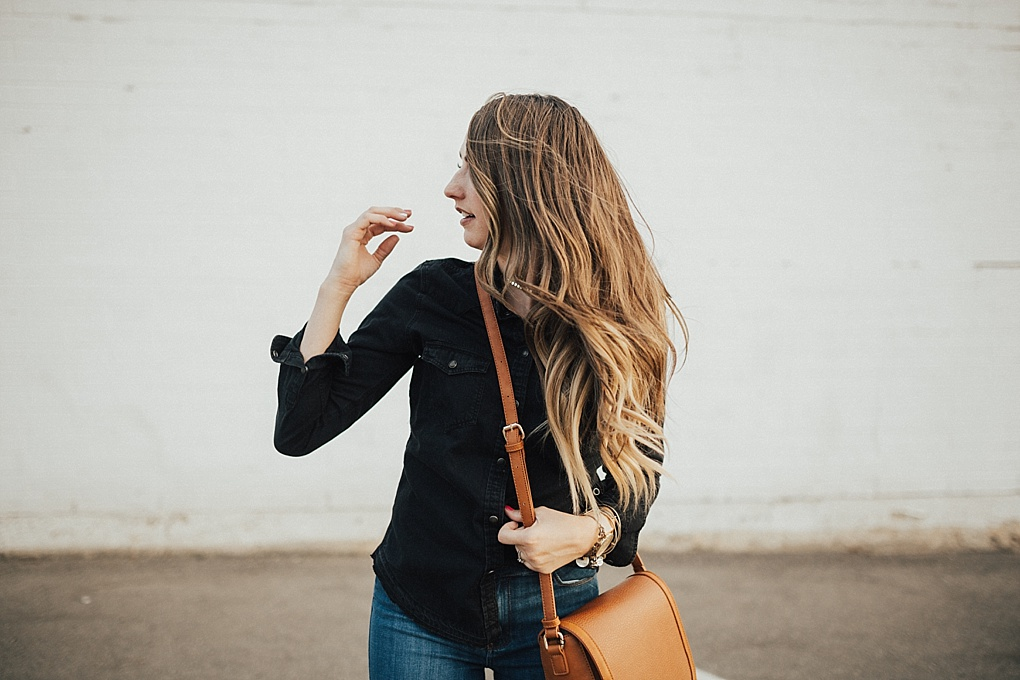 Black Button Up Shirt & Denim Combo by fashion blogger Dani Marie