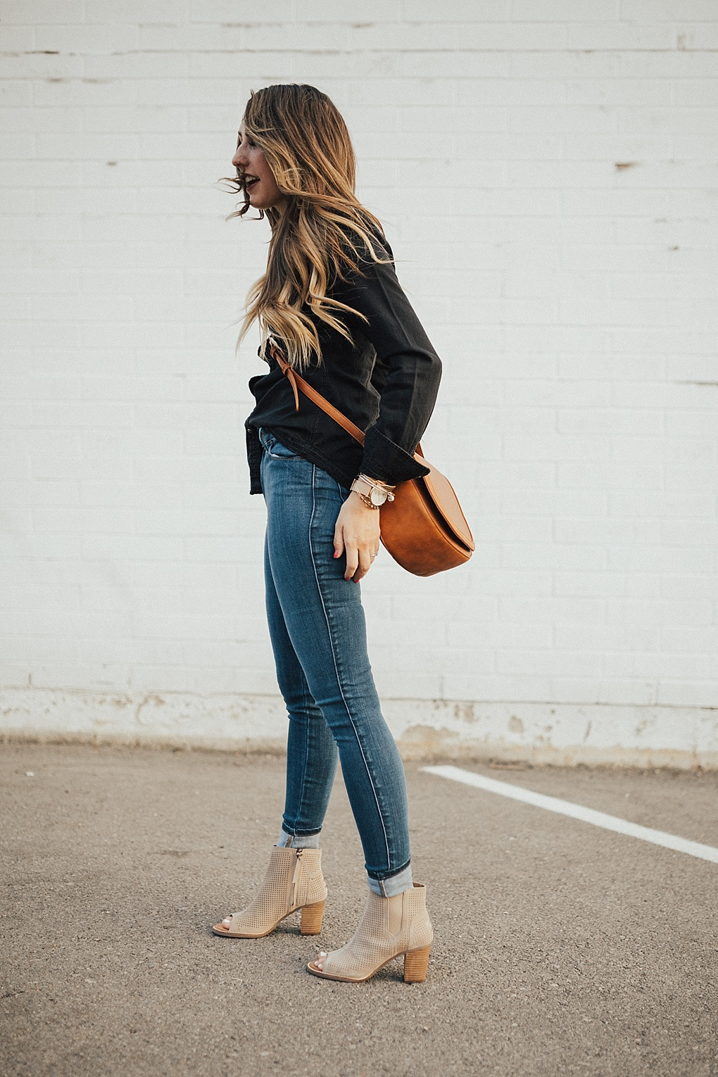 Black Button Up Shirt & Denim Combo by fashion blogger Dani Marie