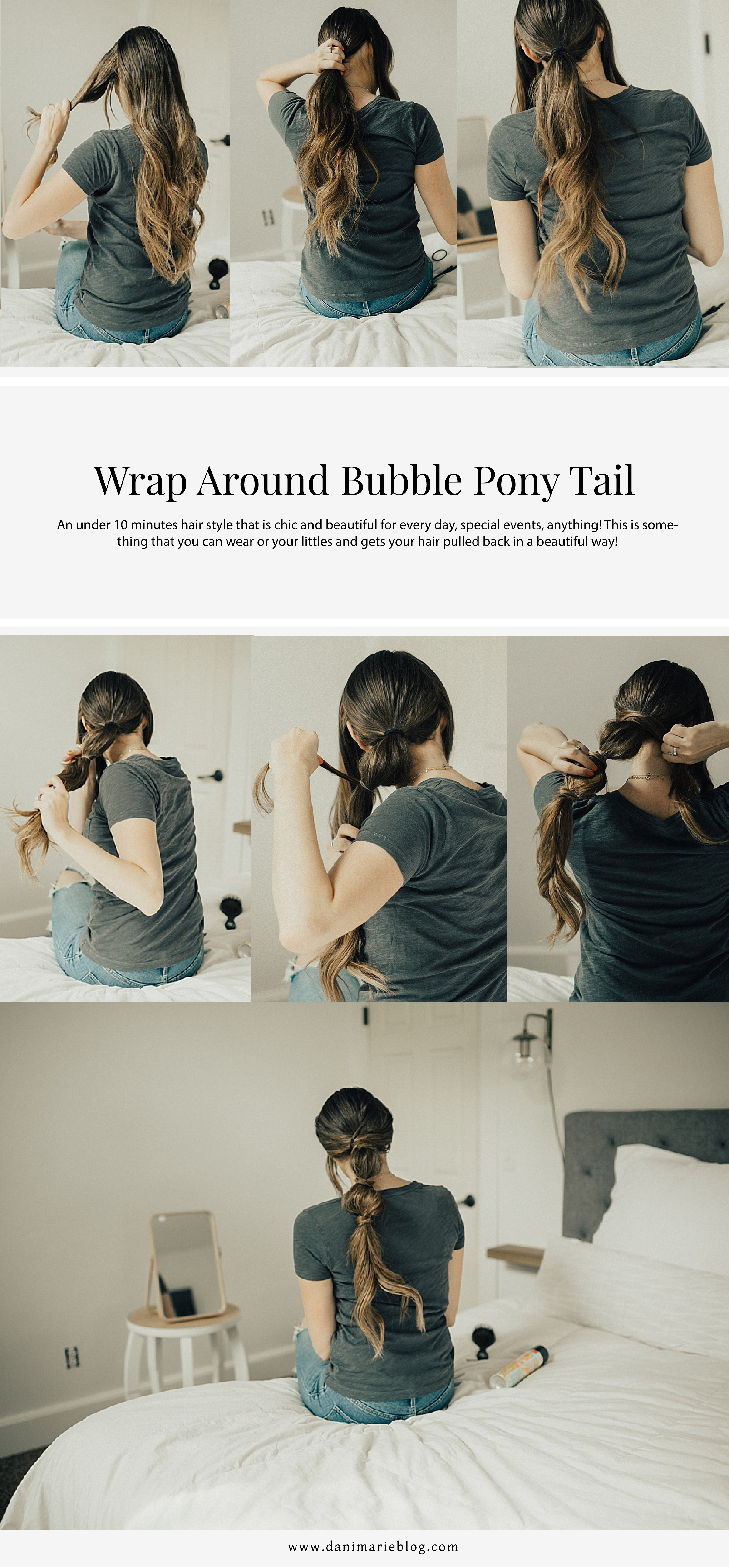 Easy Wrap Around Bubble Ponytail Tutorial by Utah style blogger Dani Marie