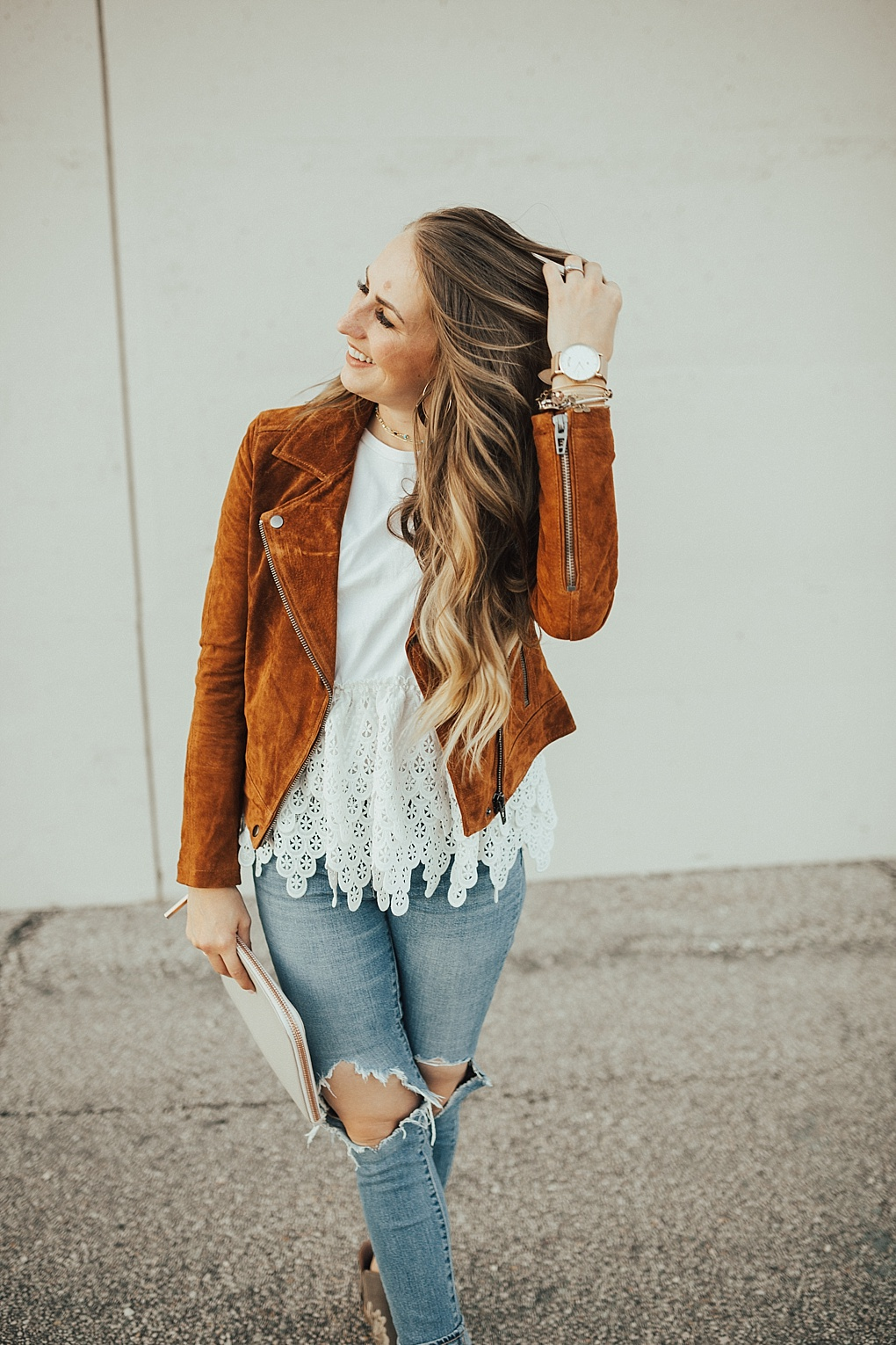 3 Ways to Wear A Brown Suede Jacket for Fall by Utah fashion blogger Dani Marie