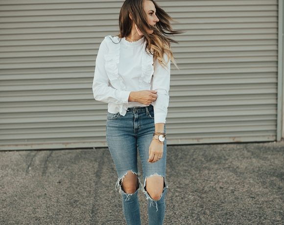 How To Pair A Dressy Ruffle Top with Jeans