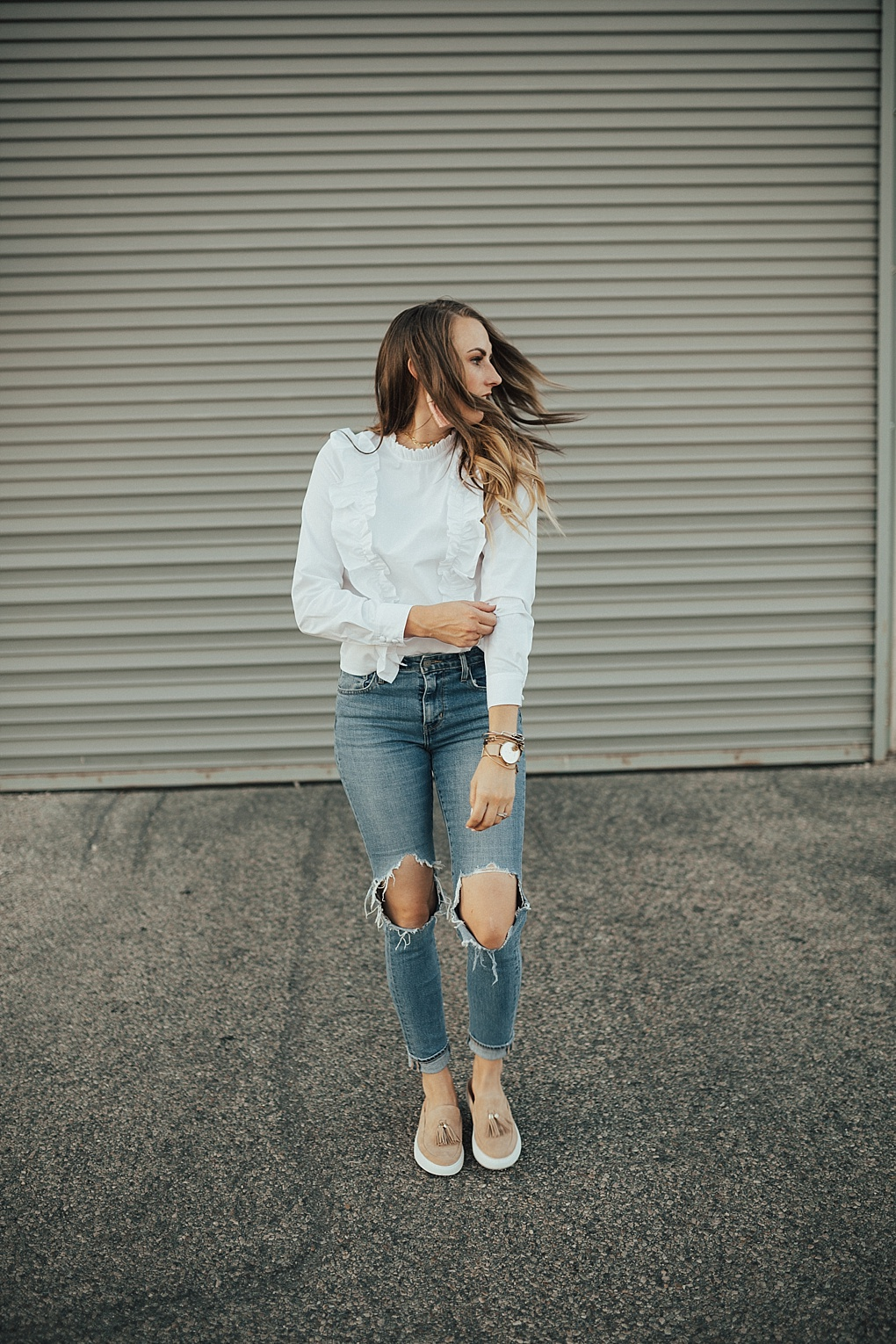 How To Pair A Dressy Ruffle Top with Jeans by Utah fashion blogger Dani Marie