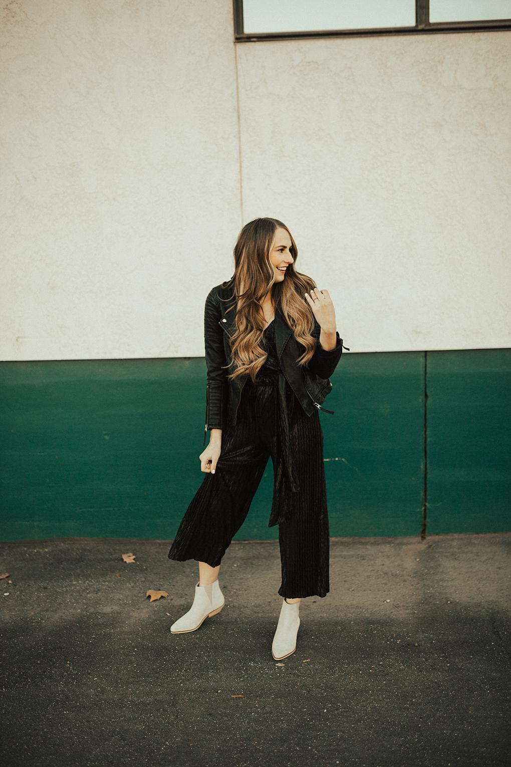 Pairing Textures Together & a Dressy Black Jumpsuit by Utah style blogger Dani Marie