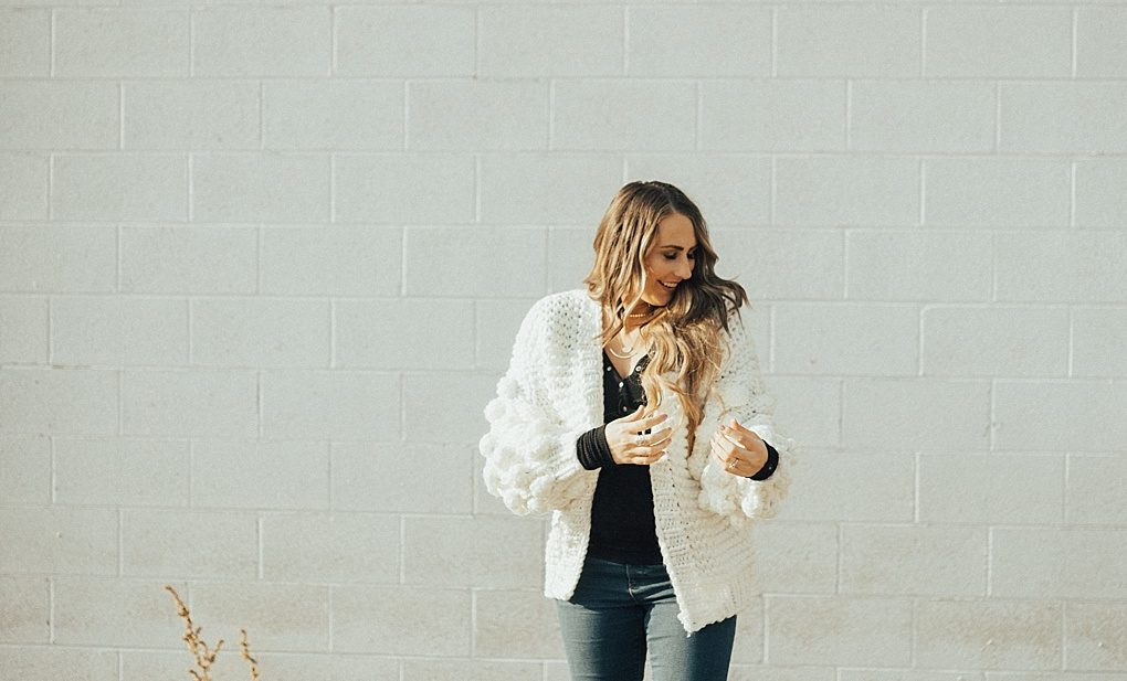 Spring is around the corner. See why you need a white pom pom cardigan ASAP!