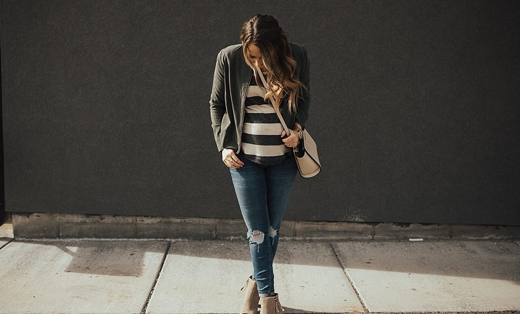Bookmark this for the BEST way to style a striped shirt with military jacket!