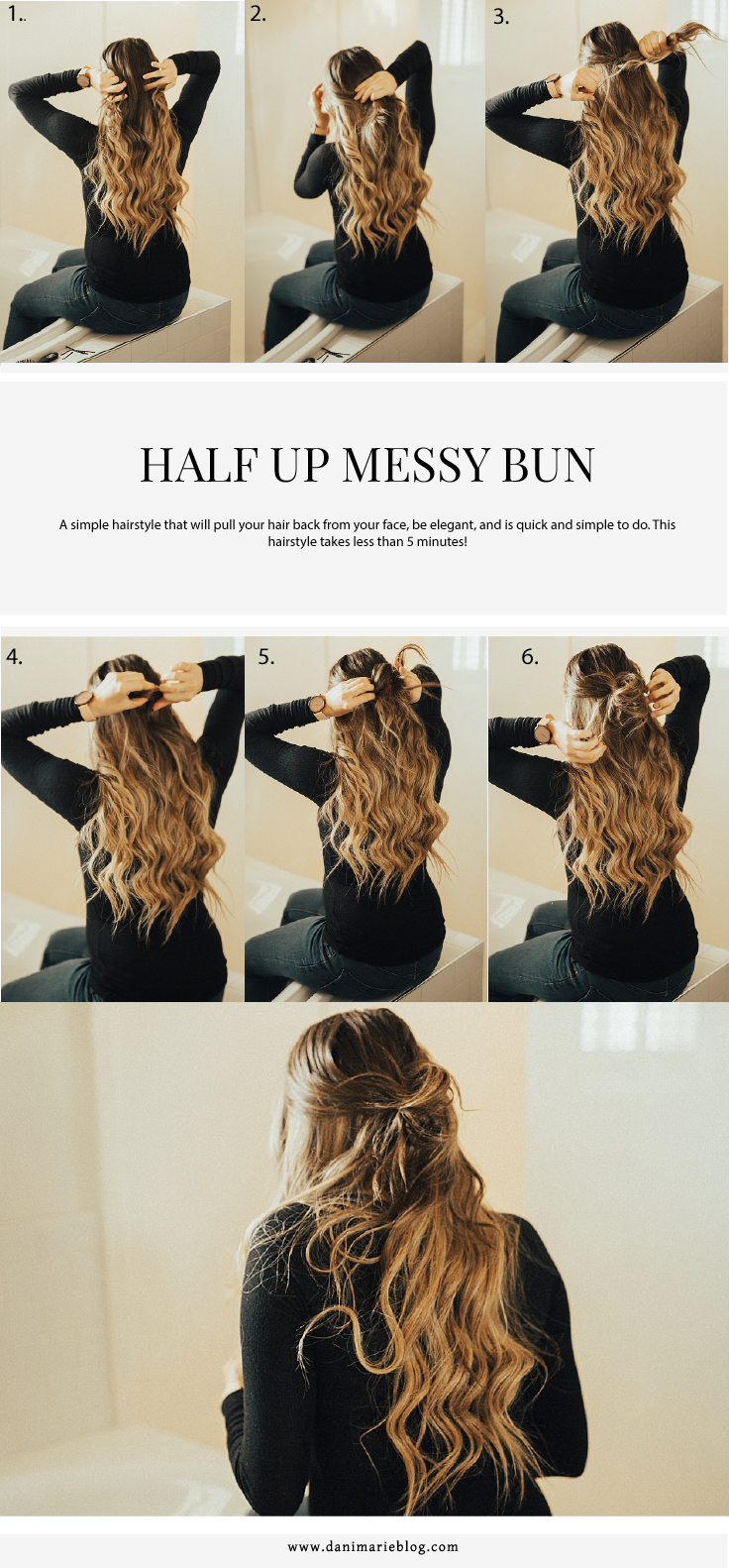 Bookmark this ASAP for this super easy half up messy bun tutorial HERE!