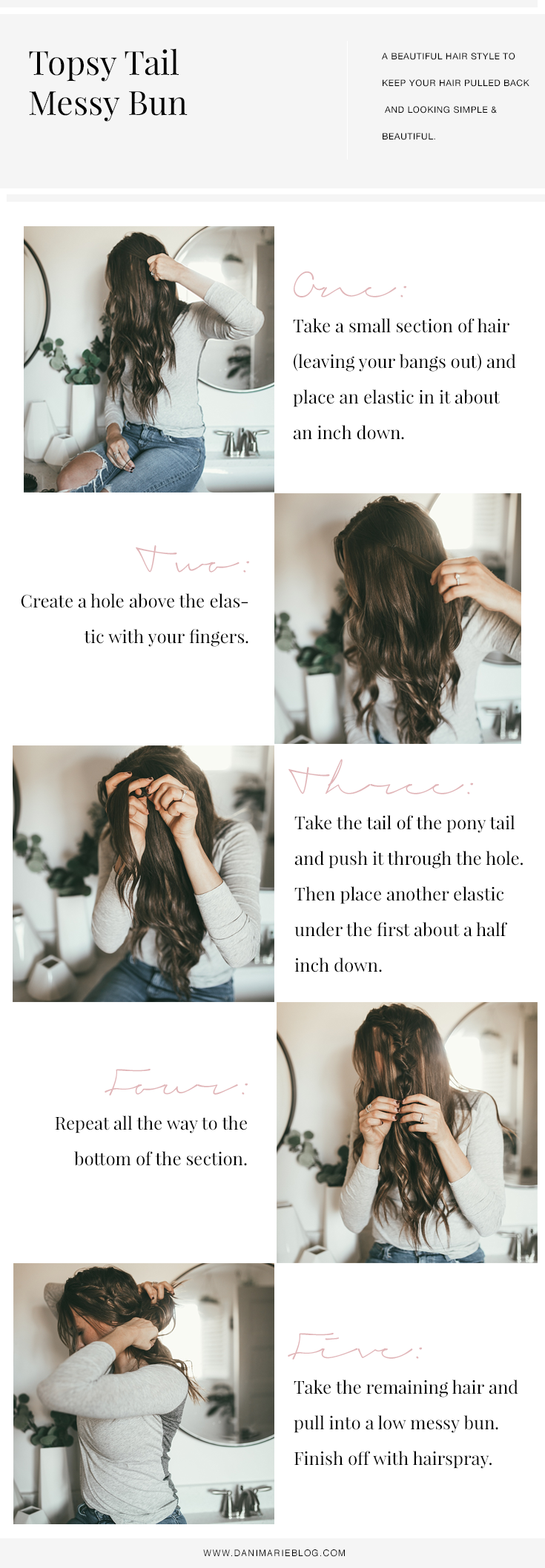 Pin this ASAP if you have been looking for the best EASY yet stylish hair tutorial? Utah Style Blogger Dani Marie is sharing the perfect topsy tail bun tutorial that everyone will love. See it HERE!
