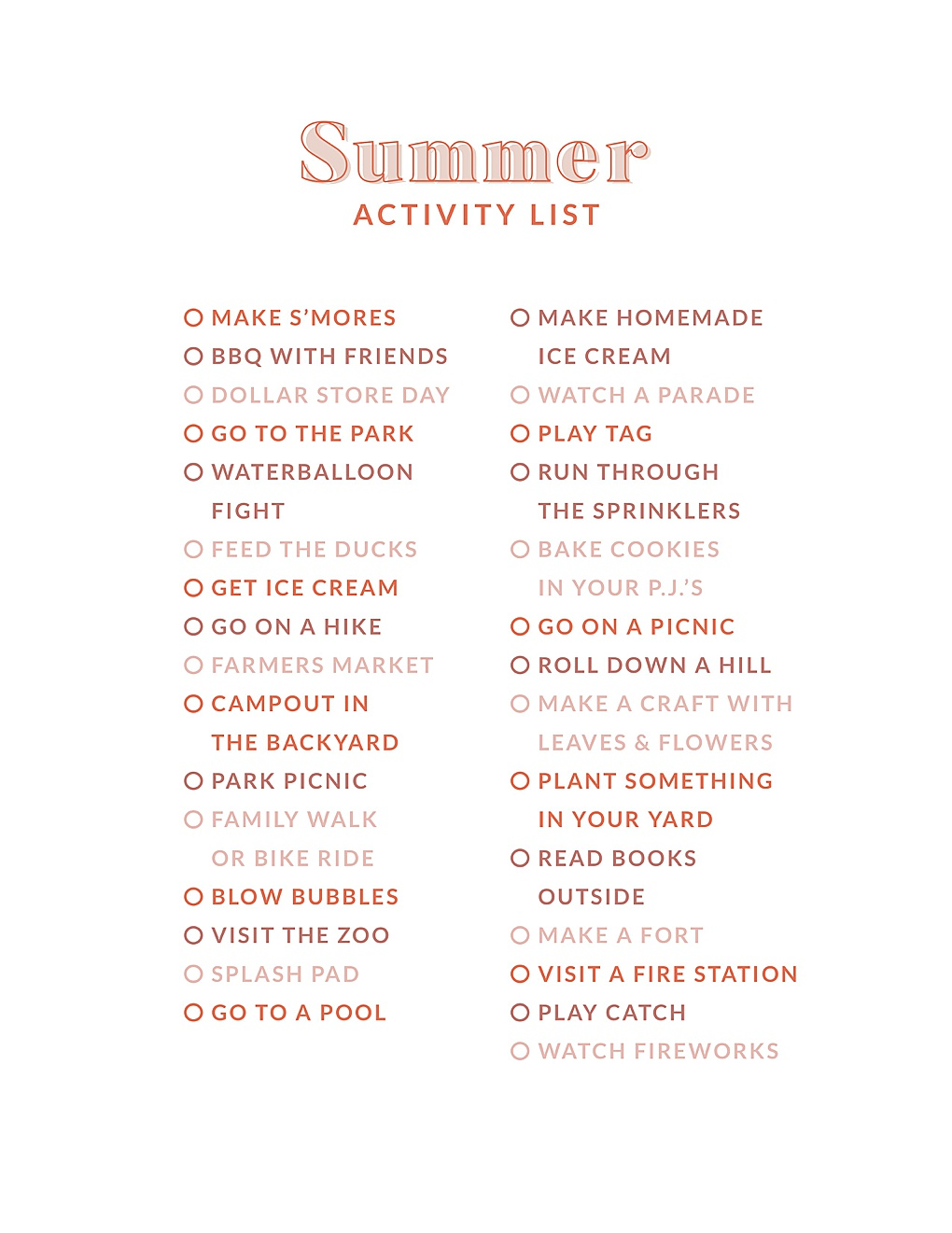 Summer is almost over, looking to fill the last few weeks with fun? Utah Style Blogger Dani Marie is sharing hte best summer activity list + printable here!